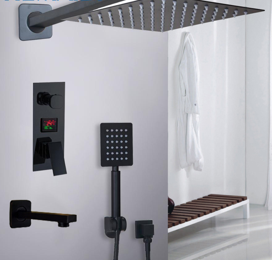 Bathroom Digital Display Modern Mixer Faucet Rain Shower Head Set With Images Rain Shower Head Rain Shower Shower Heads