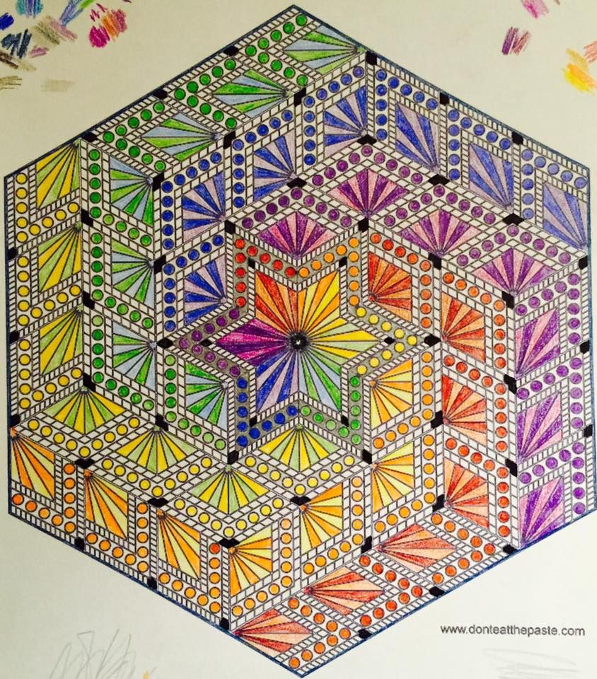Diamond hexagon mandala to color Mandala coloring