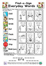 graphic regarding Baby Sign Language Australia Free Printable Chart identified as Uncover-A-Signal - Daily Words and phrases 1 game titles Signal language for