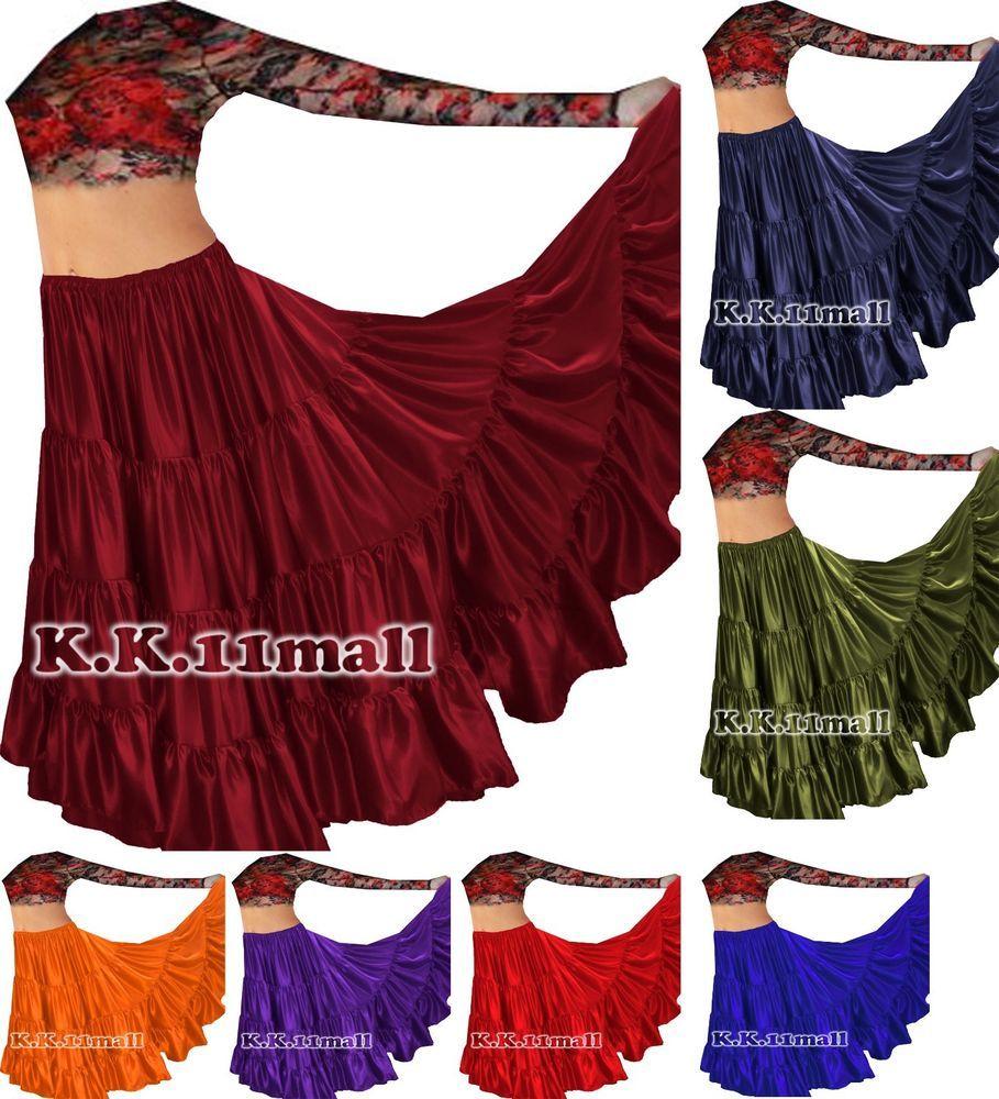 MAROON Cotton Tribal Fusion Gypsy 32 Yard 4 Tier Skirt Belly Dancing Flamenco