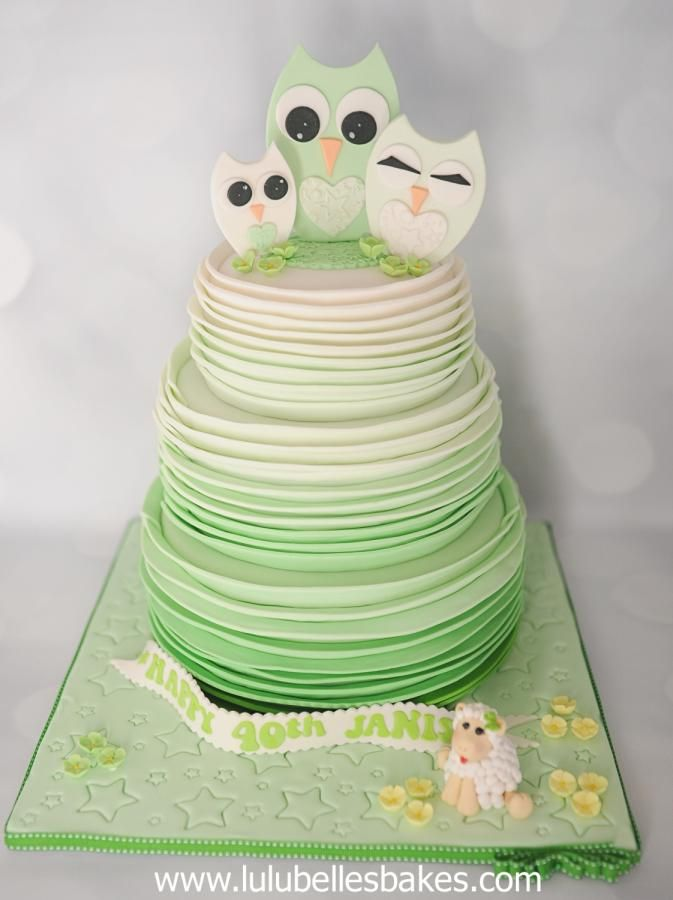 Ombre Mint Green Ruffle cake by Lulubelle's Bakes