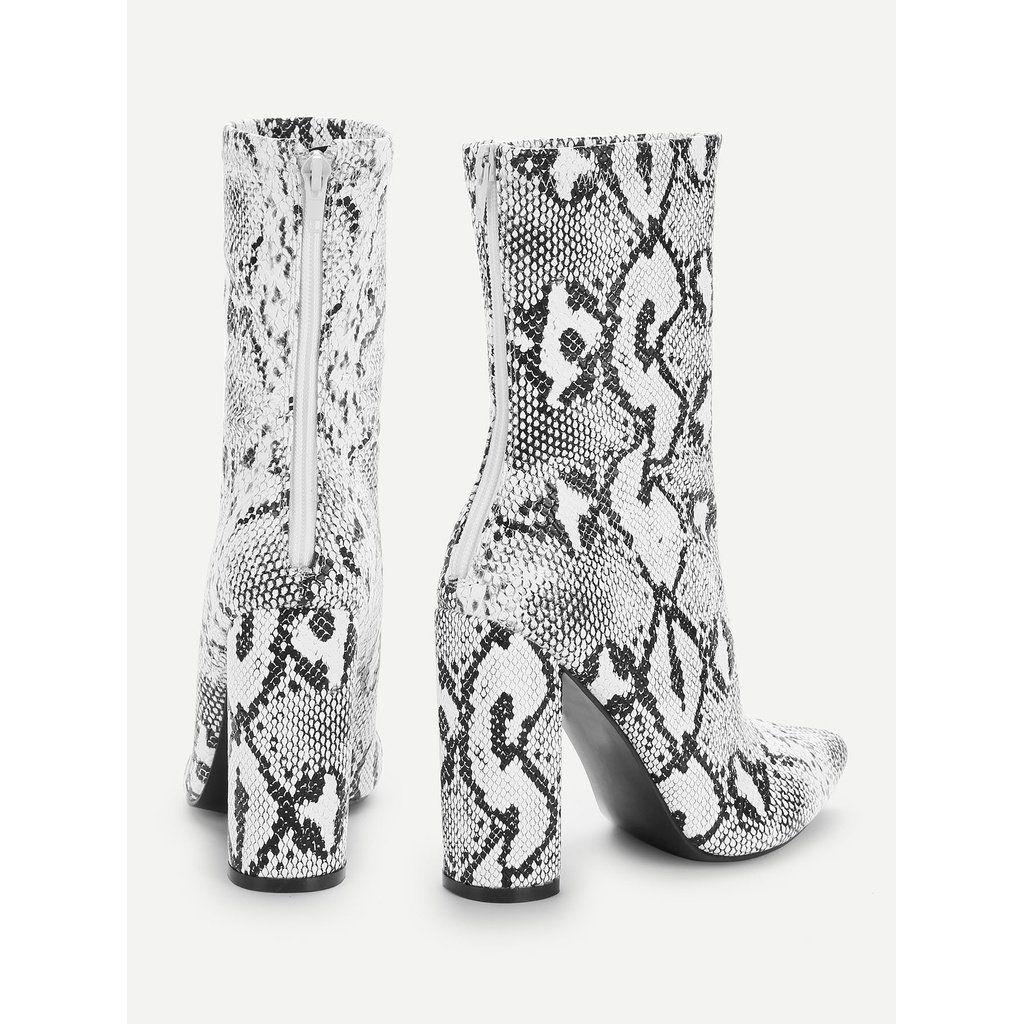 c6f431bb409 Snake Print Point Toe Block Heeled Boots . . . . . . #moda #blogger ...