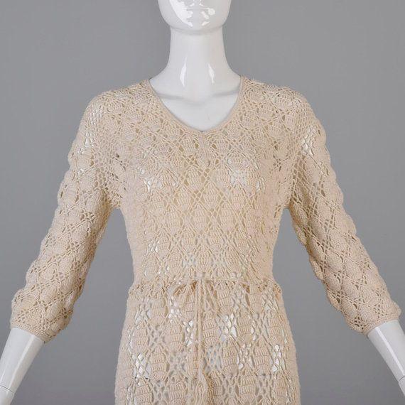 Vintage 70s Semi Sheer Open Crochet Dress Boho by StyleandSalvage