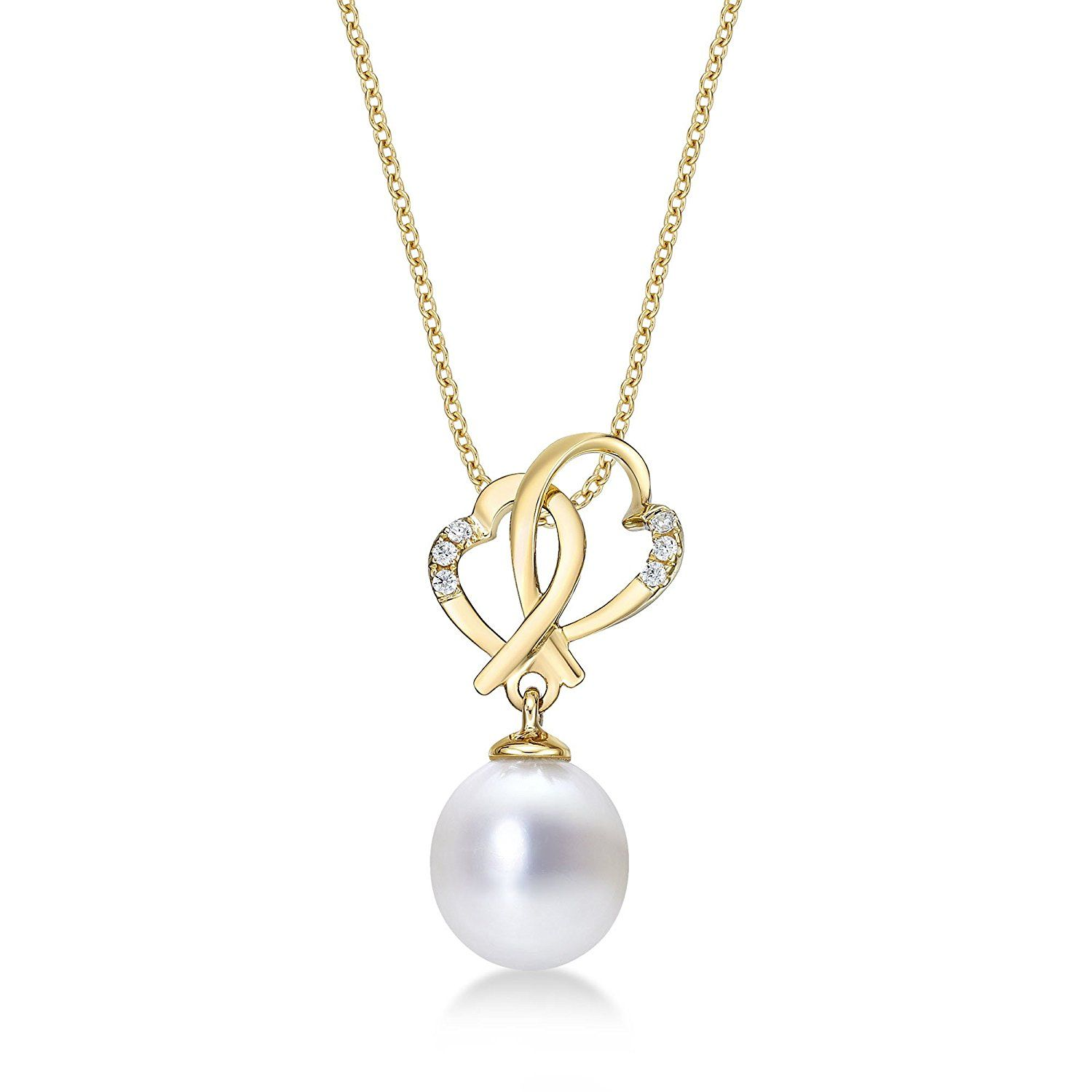 9ct Yellow Gold 6 - 7 mm White Freshwater Pearl Teardrop Pendant with 18