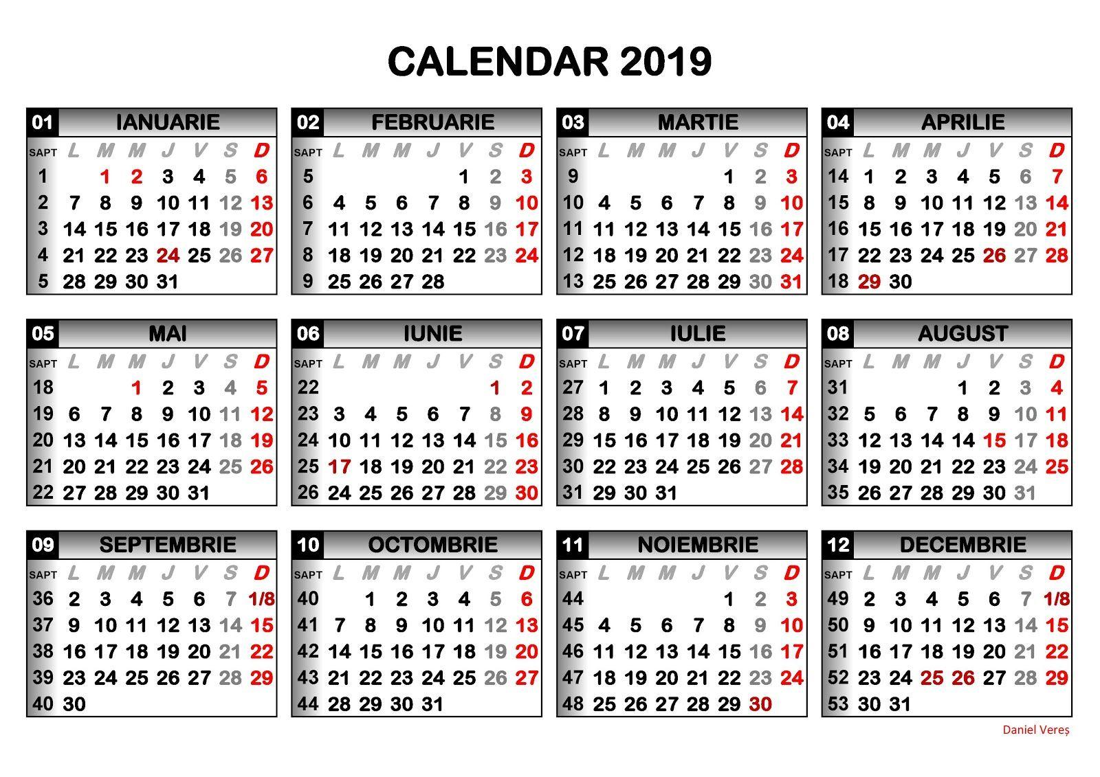 Imagini pentru calendar ROMÂNESC 2019 pdf | Weekly ...