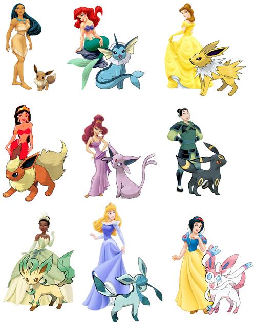 Disney Princesses and their Eevie Evolution Pokemon