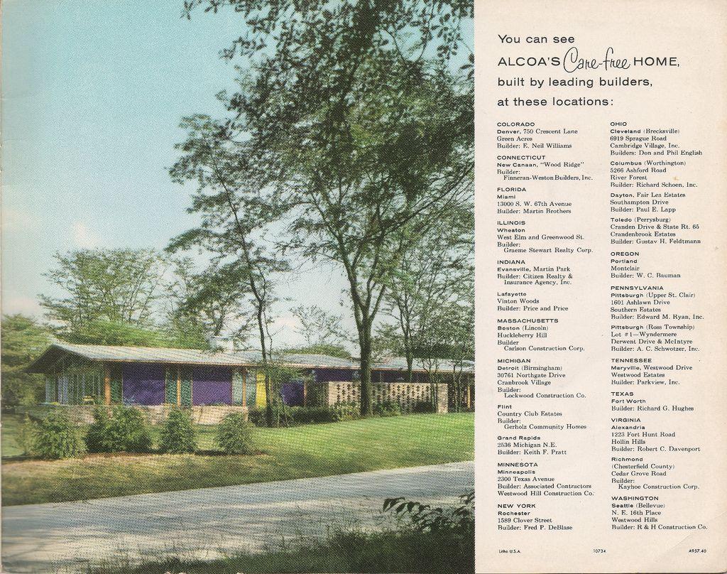 The 1958 Alcoa Care Free Home Brochure Historic Homes Alcoa