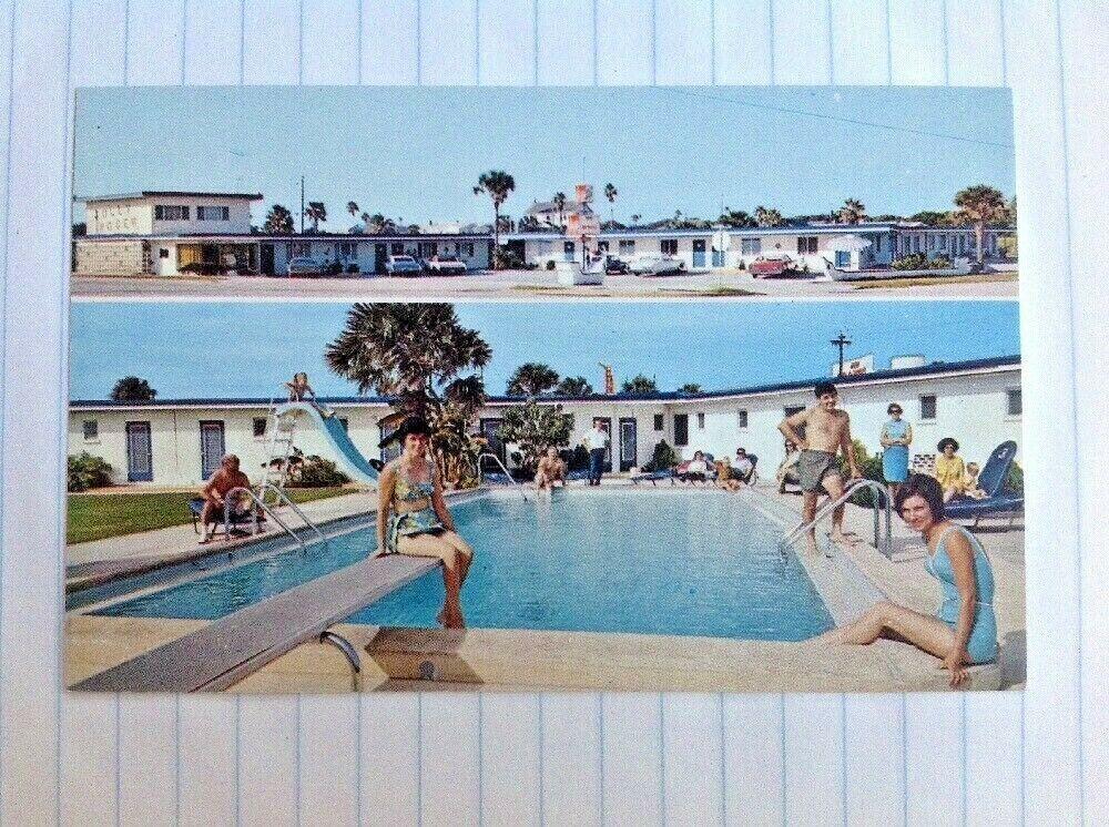 Postcard Daytona Beach Florida Jolly Roger Motel Atlantic Ave Cars Pool Daytona Beach Wesley Chapel Postcard