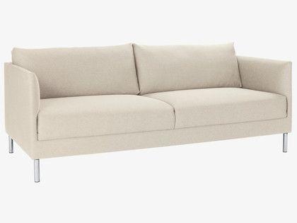 75x33HYDE WHITE Fabric Ivory Fabric 3 Seater Sofa, Metal Legs   HabitatUK