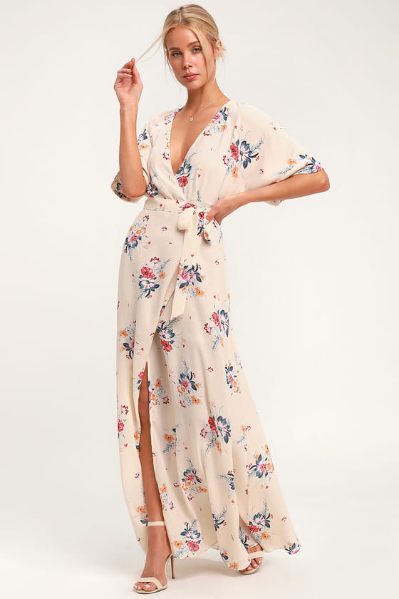 063aa09b8a6 You ll set hearts aflame in the Socialite Flaming Cream Floral Print Wrap Maxi  Dress! Gauzy woven fabric