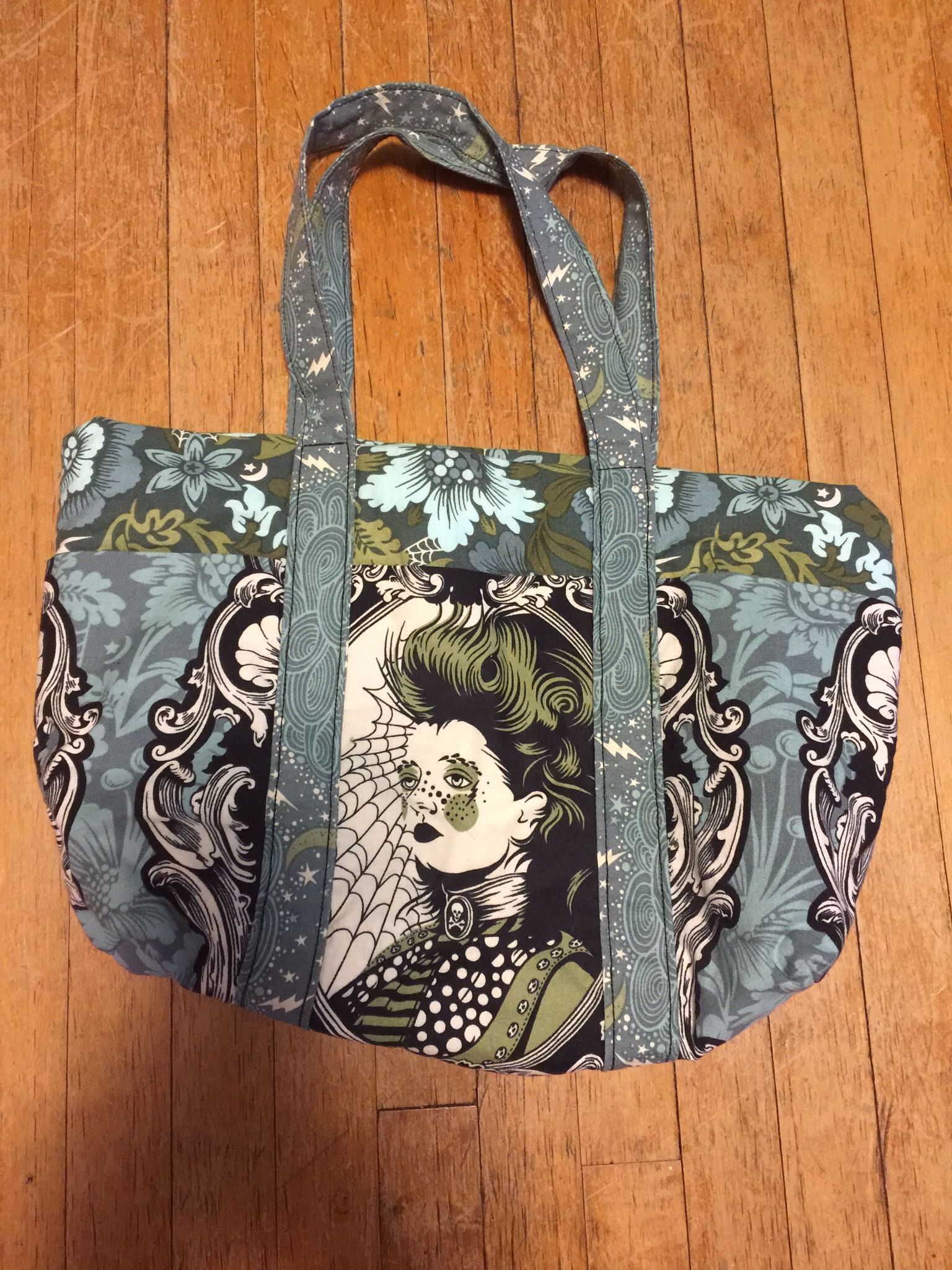 Tula Pink nightshade cameo. Bag pattern from Better Home & Garden.