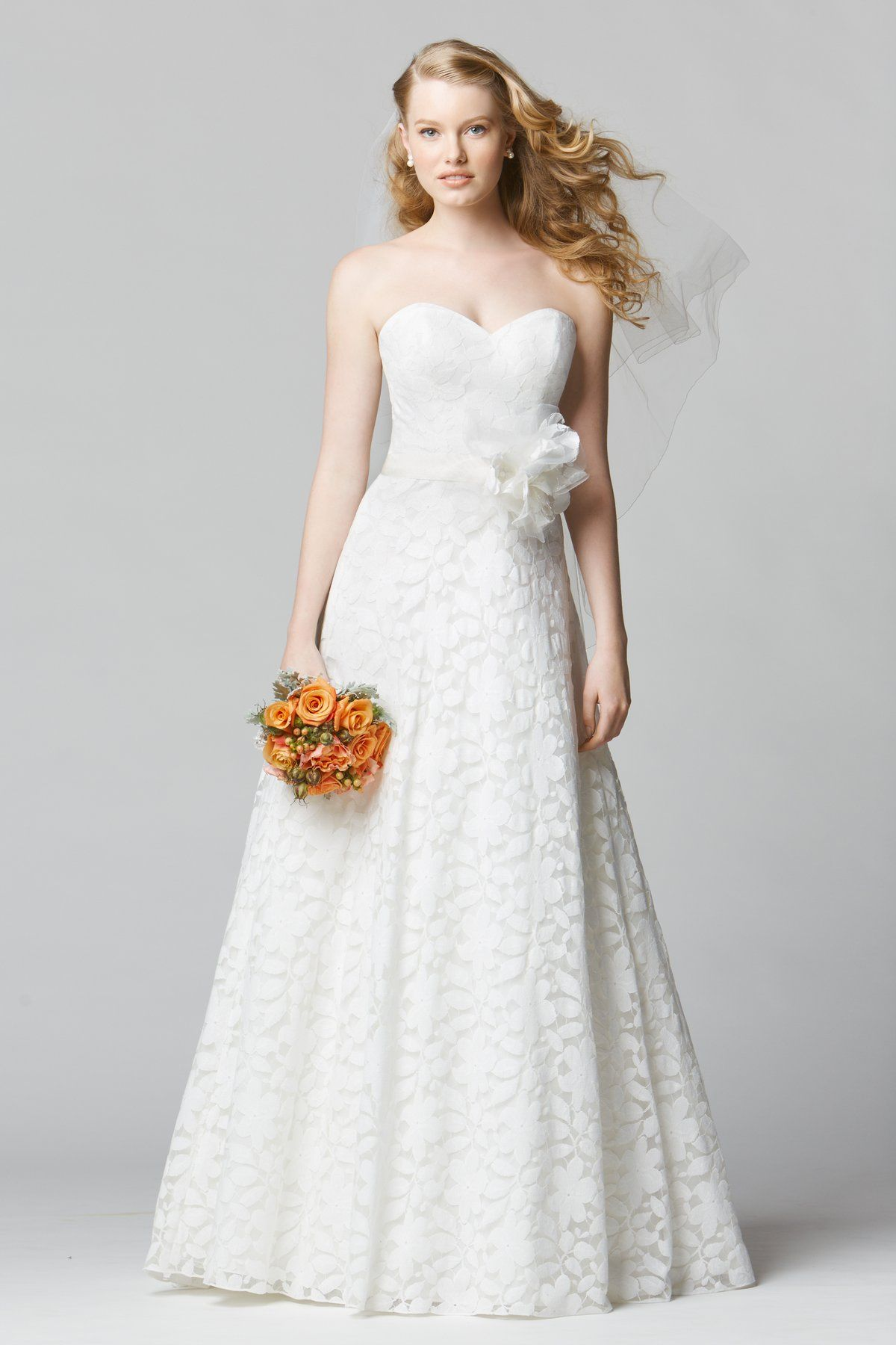 Wtoo brides rosa gown strapless sweetheart neckline allover lace