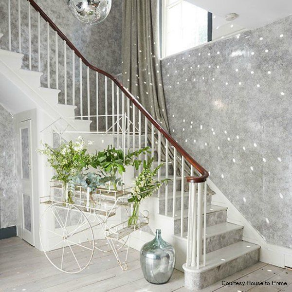 25 Pretty Painted Stairs Ideas: White And Glitter Ball Hallway, Very Pretty For Christmas