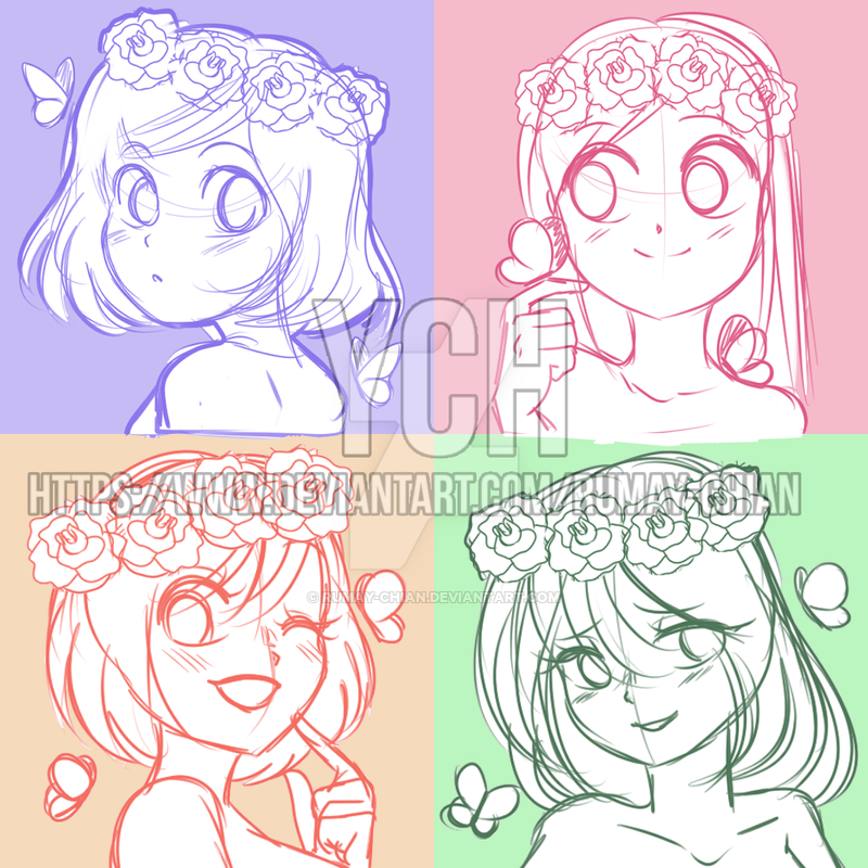 (YCH auction Headshots) Cute flower girls CLOSED by Rumay
