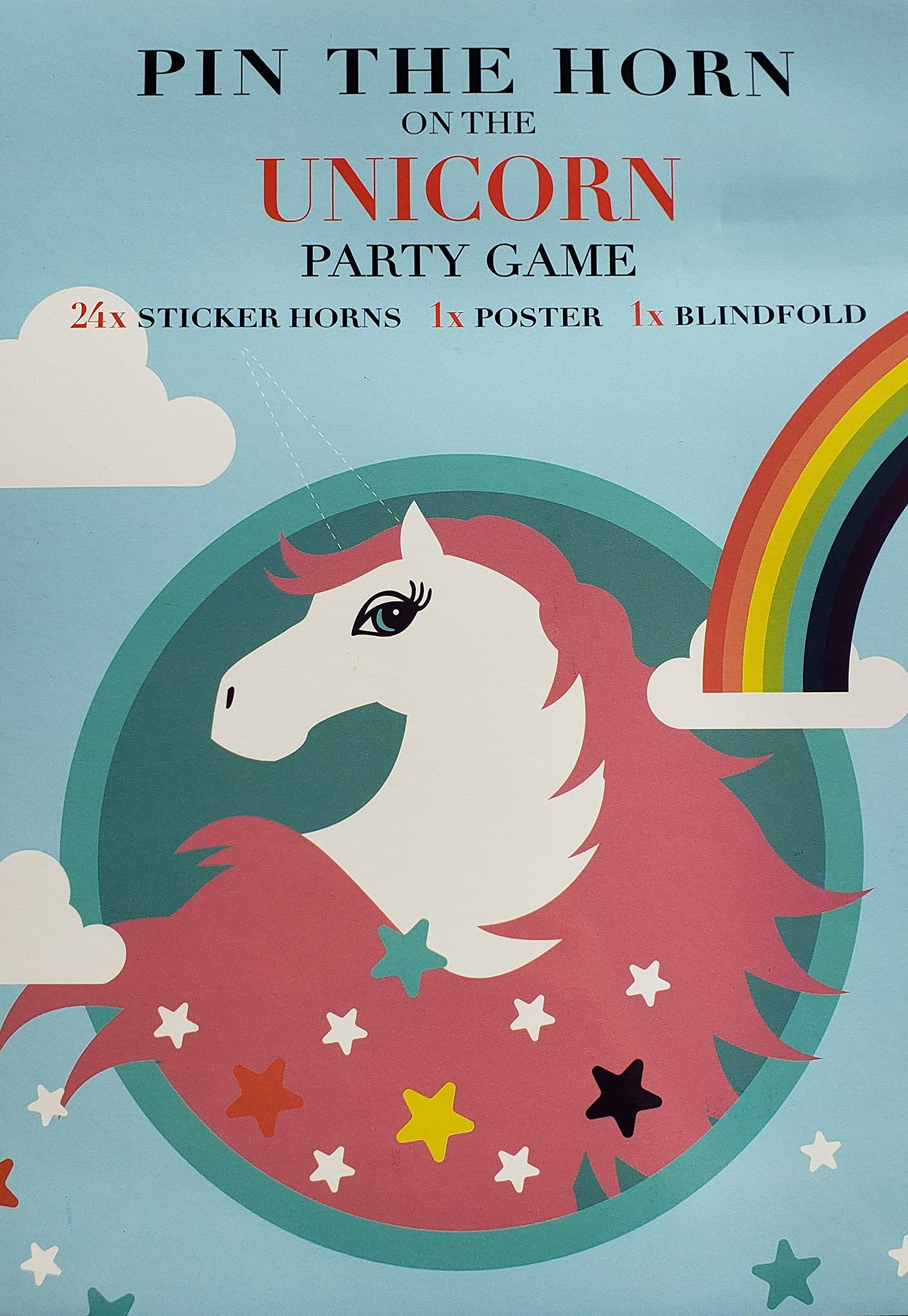 24 Reusable Sticker Horns,Eye Mask--Perfect Gift for Baby Shower,Birthday Party. Unicorn Party Supplies-Unicorn Funny Game,Pin The Horn on The Unicorn Birthday Party Favor Games for Kids;Include a Large Adorable Poster