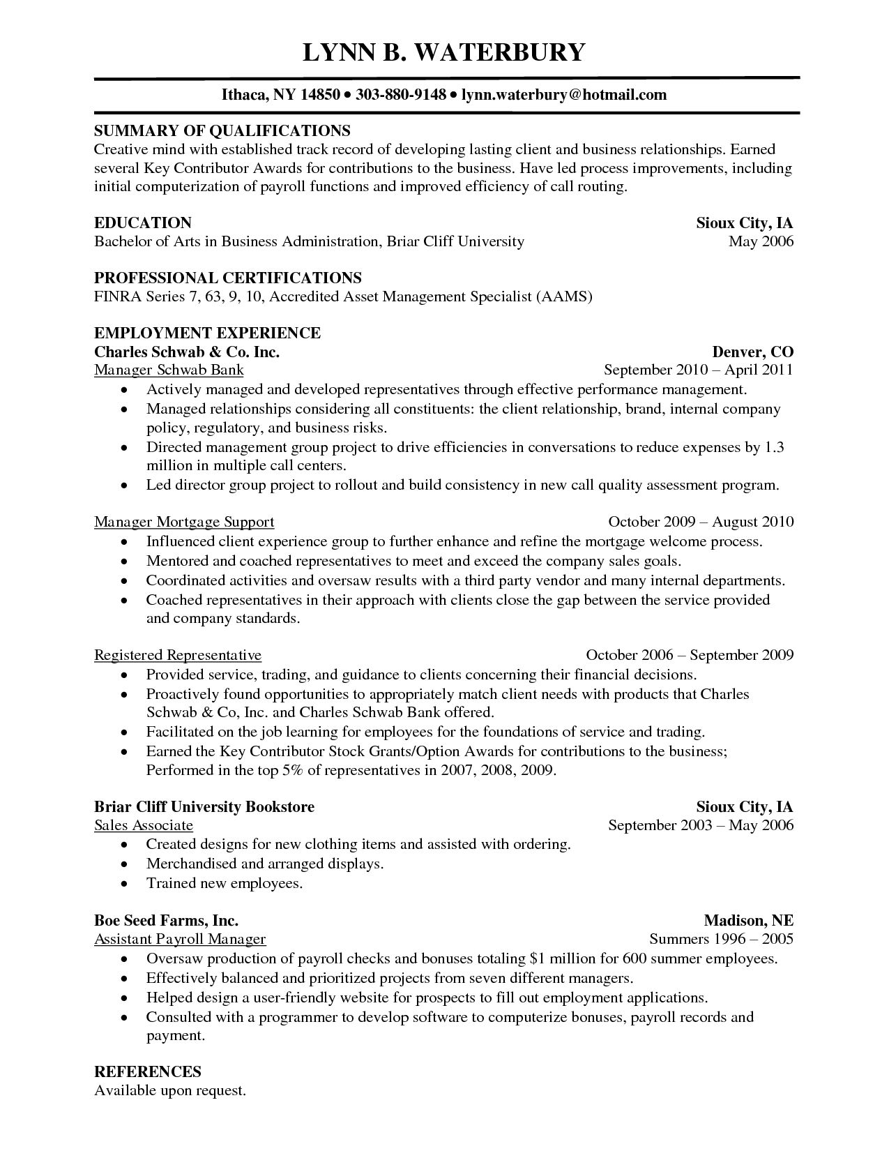Advisor Resume Examples Financial Aid Sample Professional