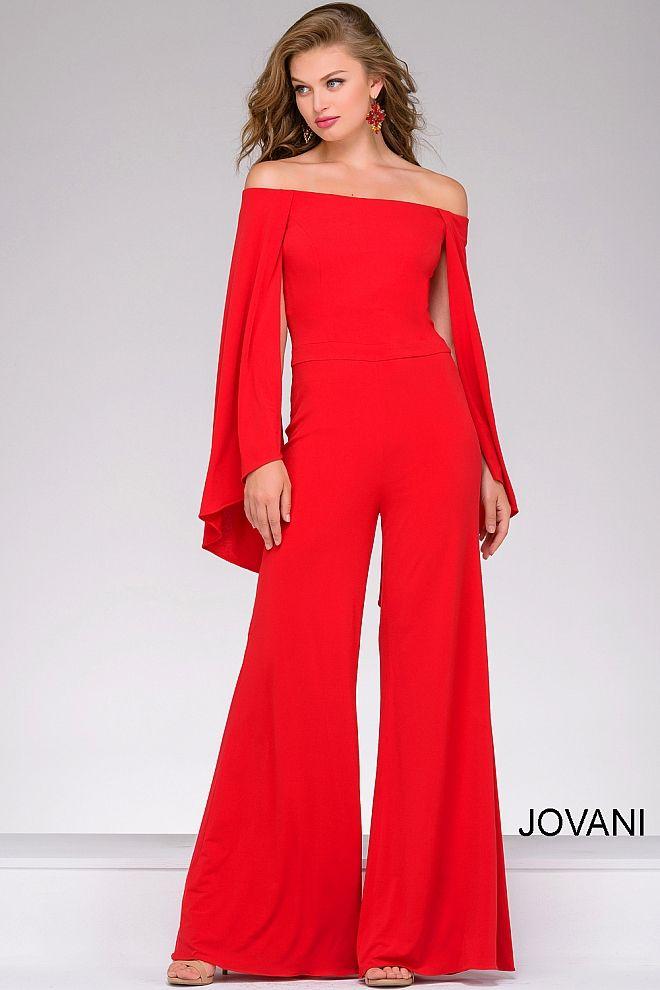 e77e48ac289 Red Off the Shoulder Jersey Jumpsuit  39598  Jovani  Jumpsuit