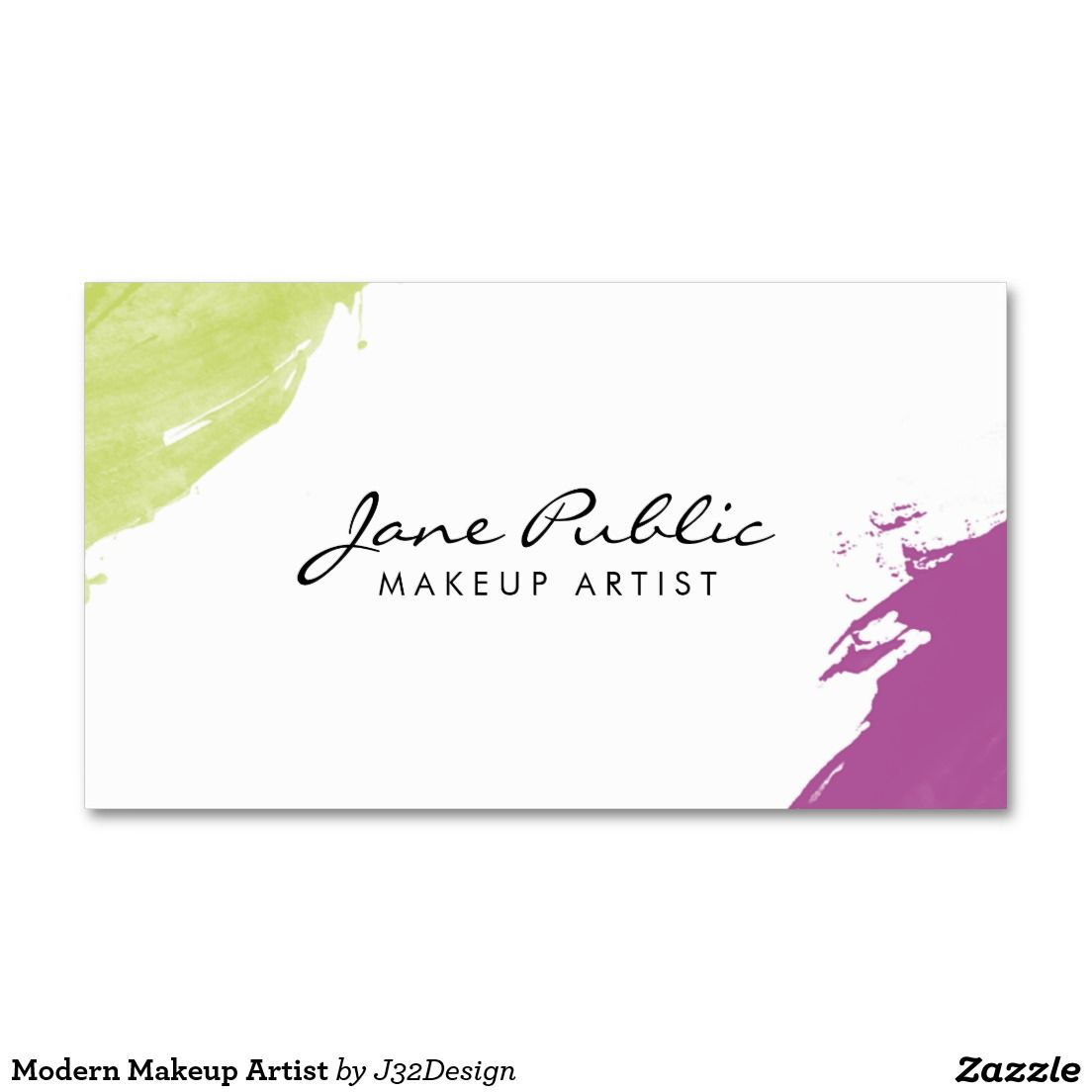Modern makeup artist business card pinterest business cards cards a modern business cards design with colorful green and purple painted corners the design is two sided and features your name and job title reheart Choice Image