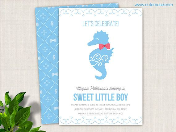 Seahorse Baby Shower Invitation Printable Baby Boy Beach Baby