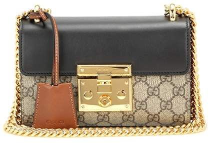 fd7e1a33374 Gucci Padlock GG Supreme leather and coated canvas shoulder bag ...