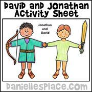 David and Jonathan Bible Activity Sheet from wwwdaniellesplacecom