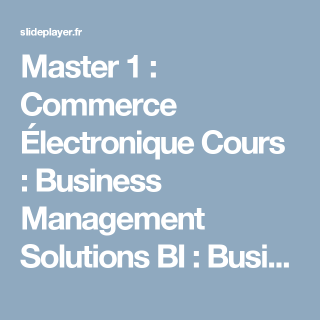 Master 1 : Commerce Électronique Cours : Business Management