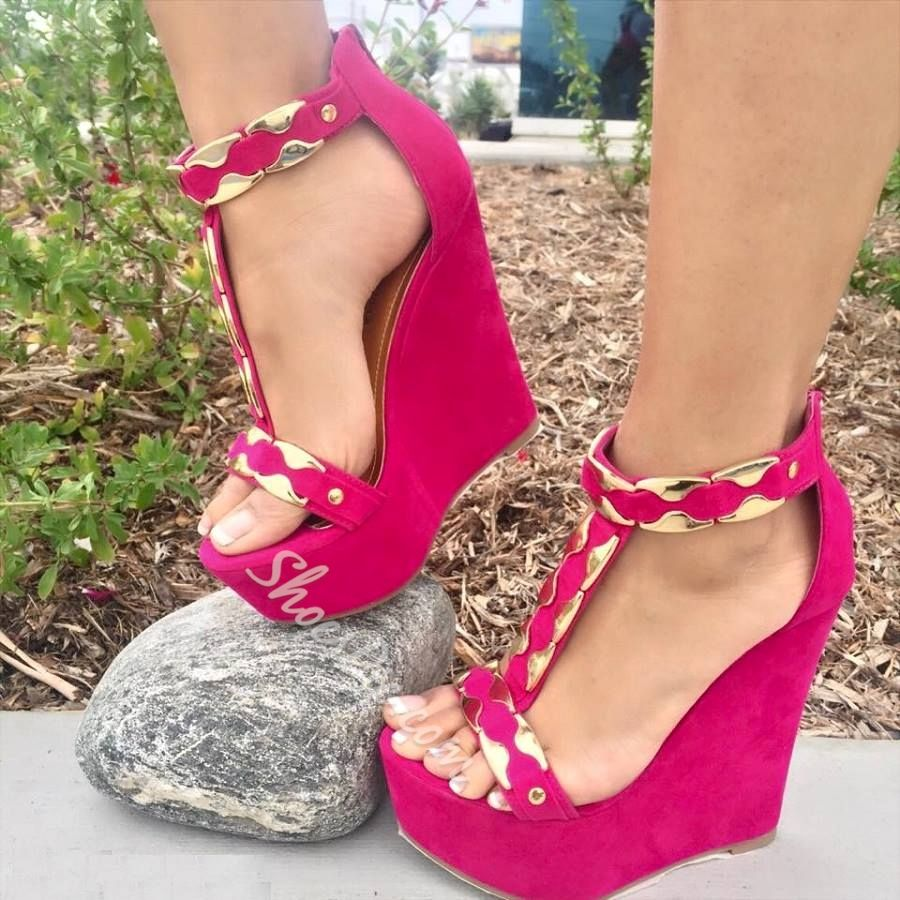 09345222a74 Shoespie Metal Solid Color Wedge Sandals