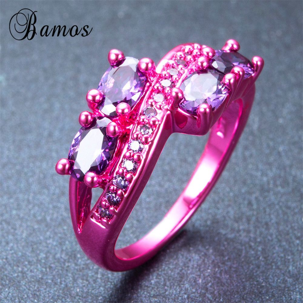 Bamos Bohemian Purple Oval Ring Pink Gold Filled | Products ...