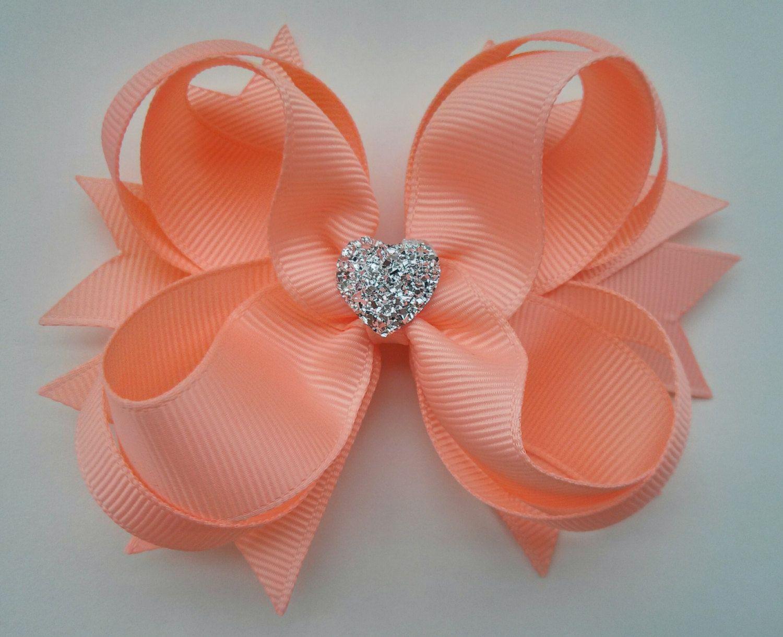 girls hair bow peach boutique