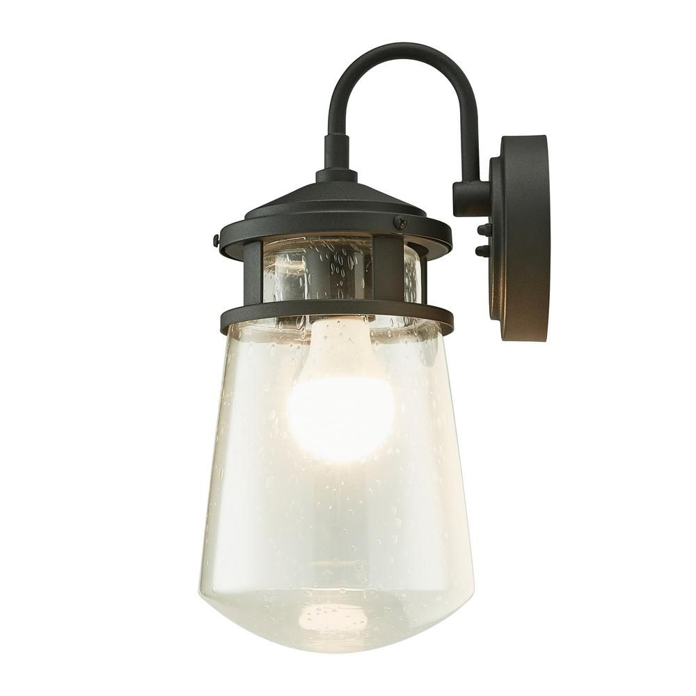 Home Luminaire 1 Light Black Nautical Outdoor Wall Coach Light Sconce With Raindrop Glass 31676 The Home Depot Outdoor Wall Lantern Wall Lantern Outdoor Walls