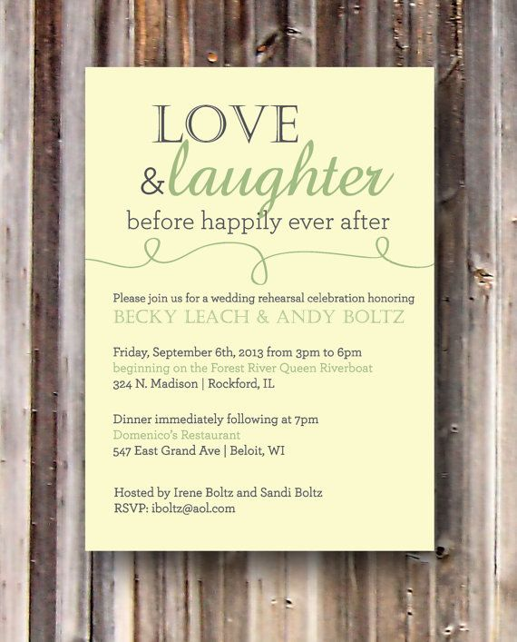 Wedding Welcome Dinner Invitation Wording: Love And Laughter Rehearsal Dinner Invitation