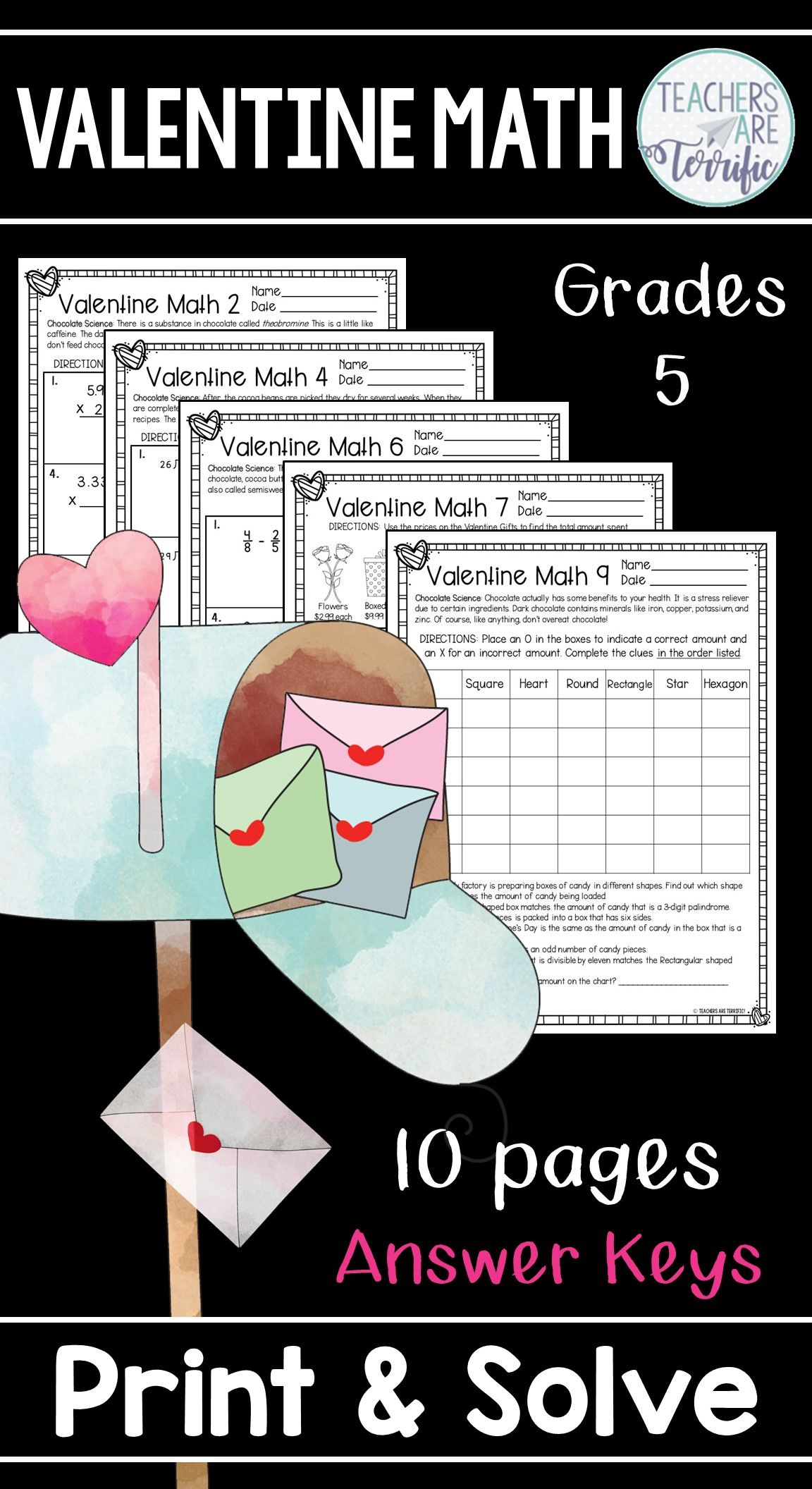 Valentine Math Print And Solve Gr 5