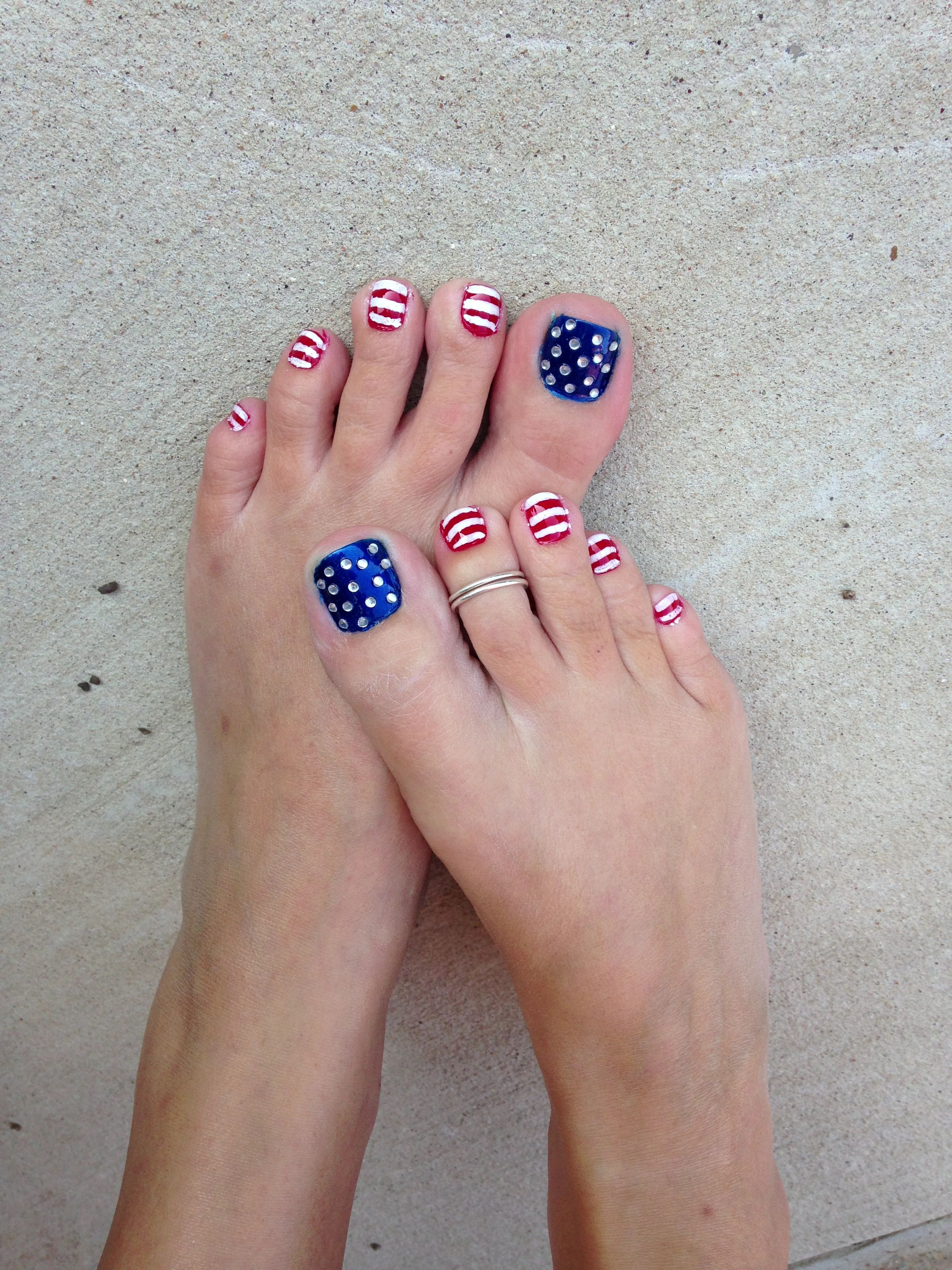 July 4th nails (With images) | Toe nail designs, Patriotic ...
