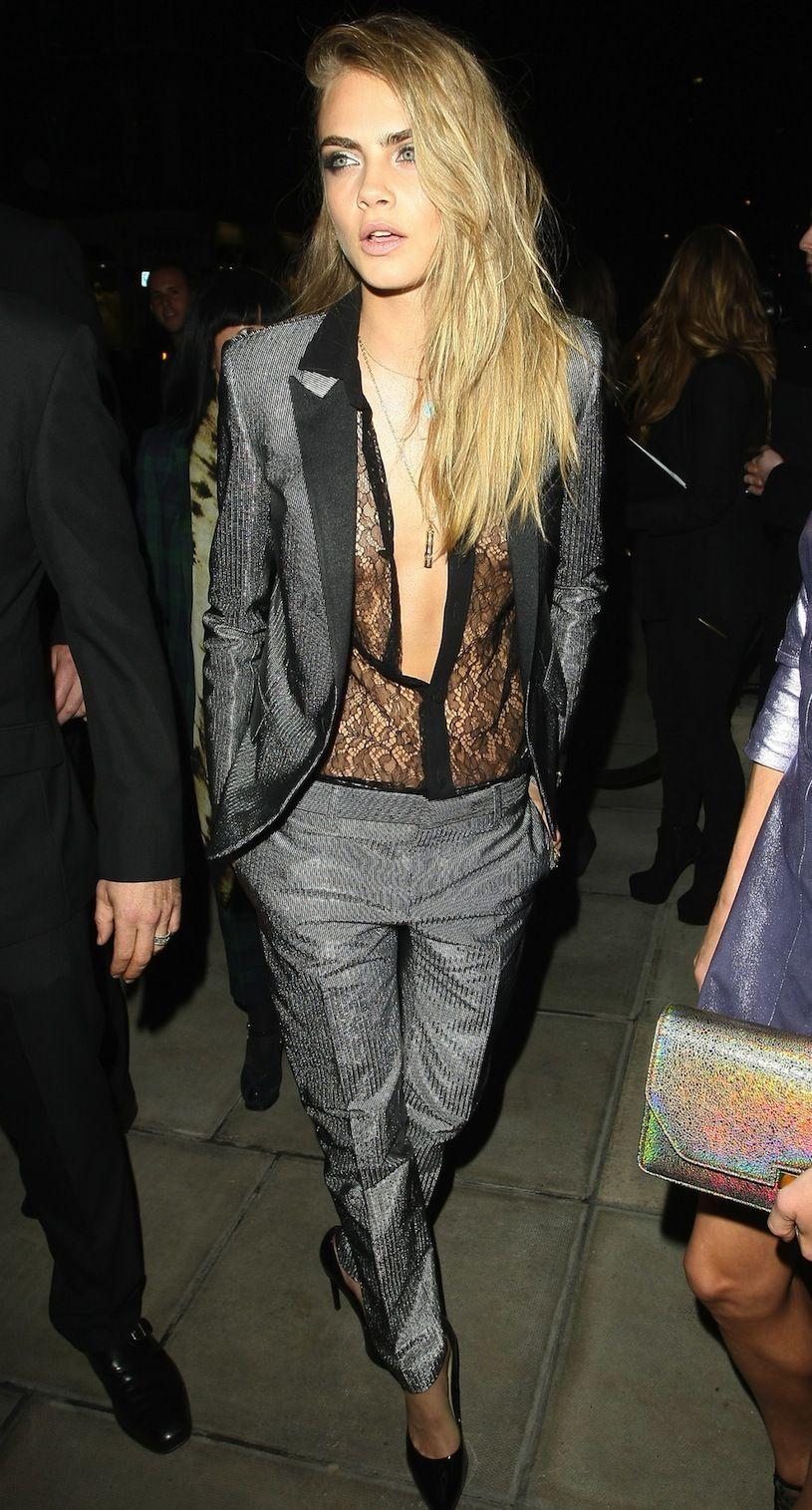 ea8e5b933 Cara Delevingne tuxedo suit lace blouse   New Years Eve Inspiration ...