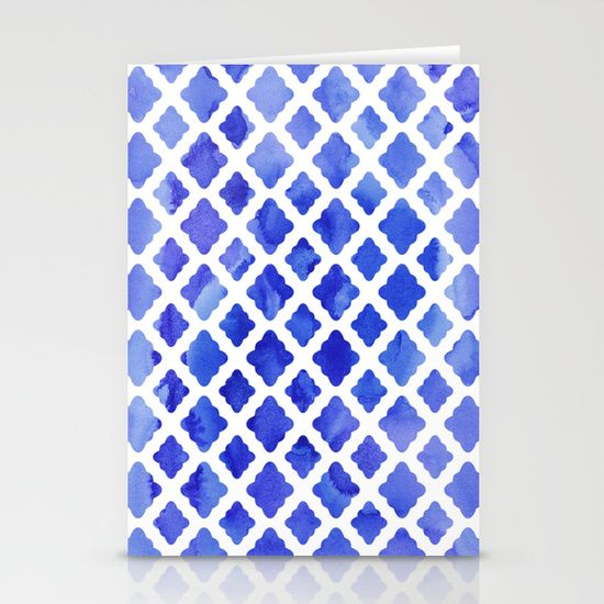 Watercolor Diamonds in Cobalt Blue Stationery Cards