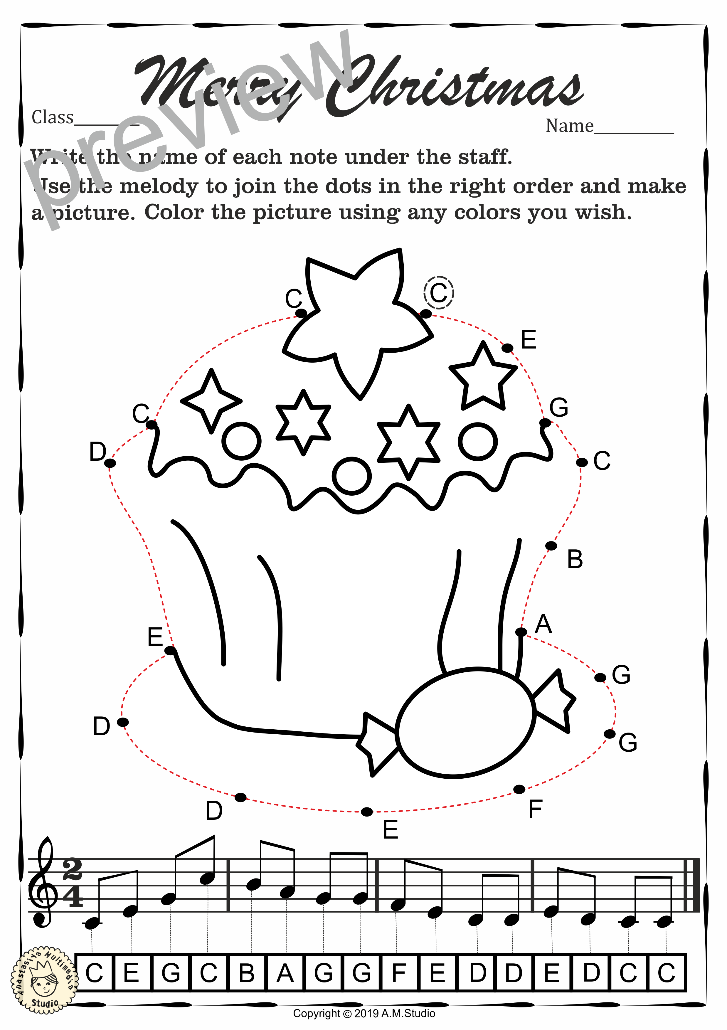 Christmas Dot To Dot Note Reading Worksheets Treble Clef