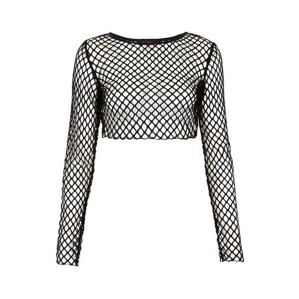 60dea151e03db Fishnet Crop Top ❤ liked on Polyvore featuring tops