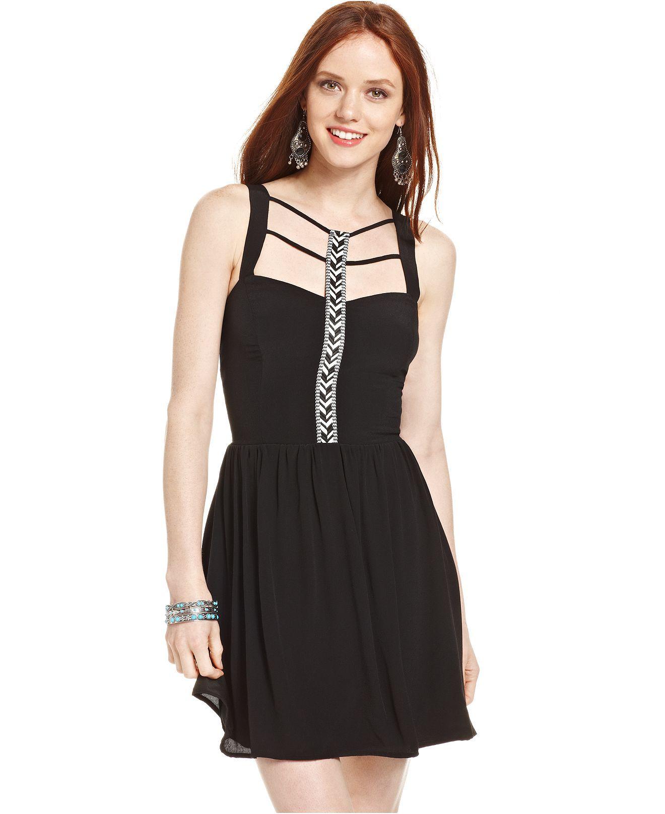 Black dress teenager - Trixxi Juniors Embroidered Trim Dress Juniors Dresses Macy S