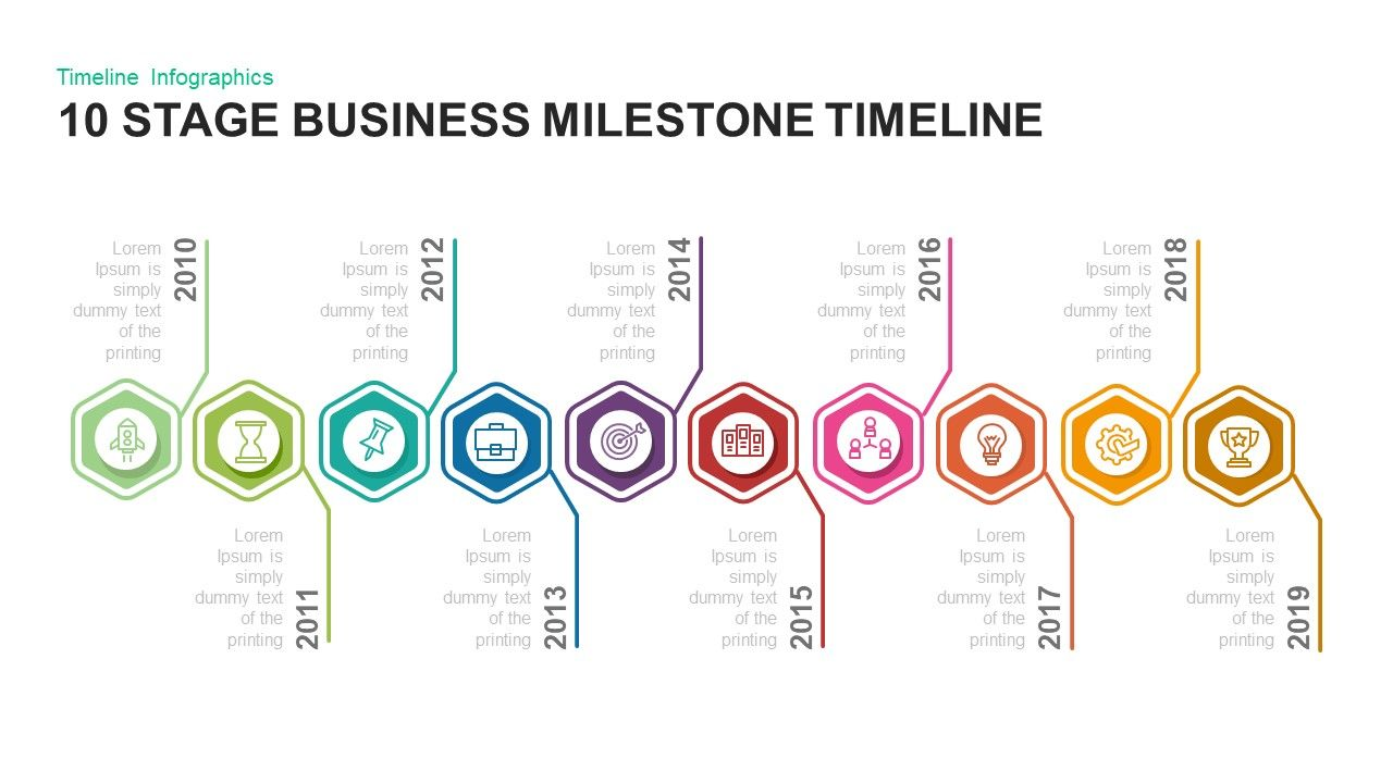10 Stage Business Milestones Timeline Powerpoint Template And