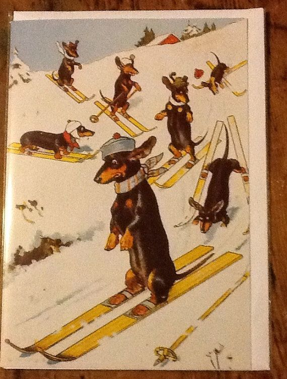 Skiing Dachshund Lovely Vintage Christmas Card By