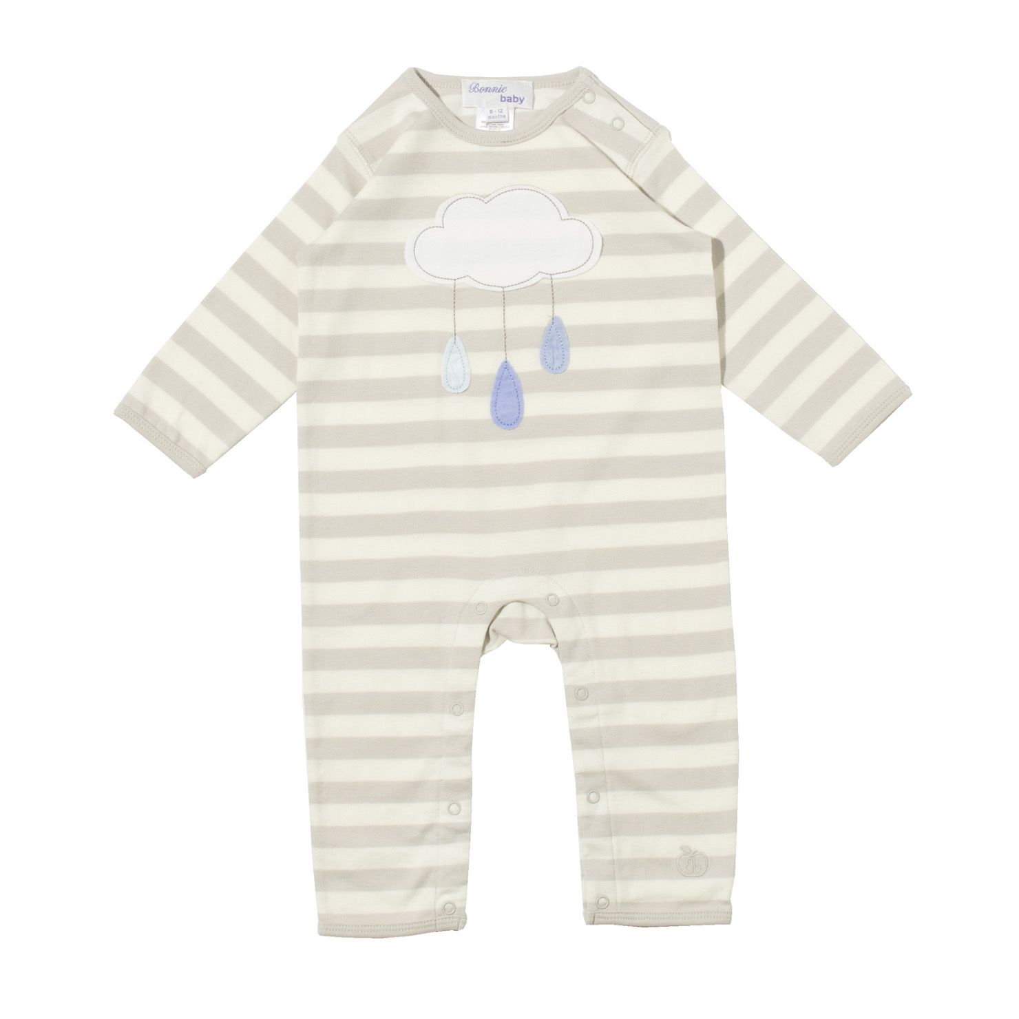 Bonnie Baby Rainy Cloud Applique Playsuit - Pearlgrey & Cream