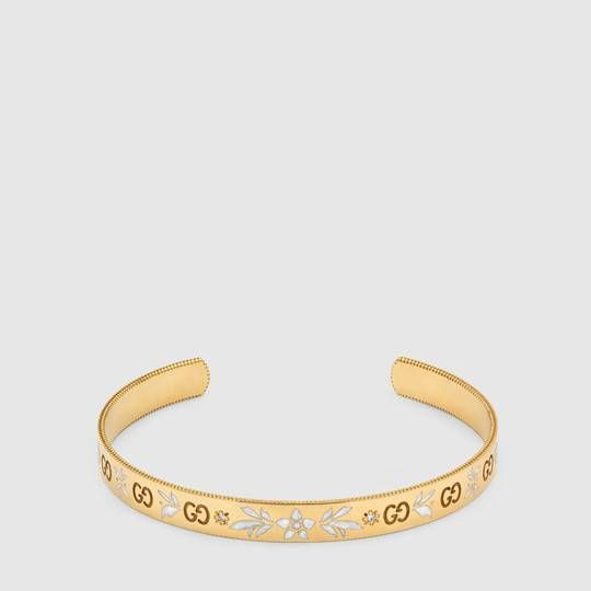 749ba99a246 Gucci Icon bracelet in yellow gold and diamonds