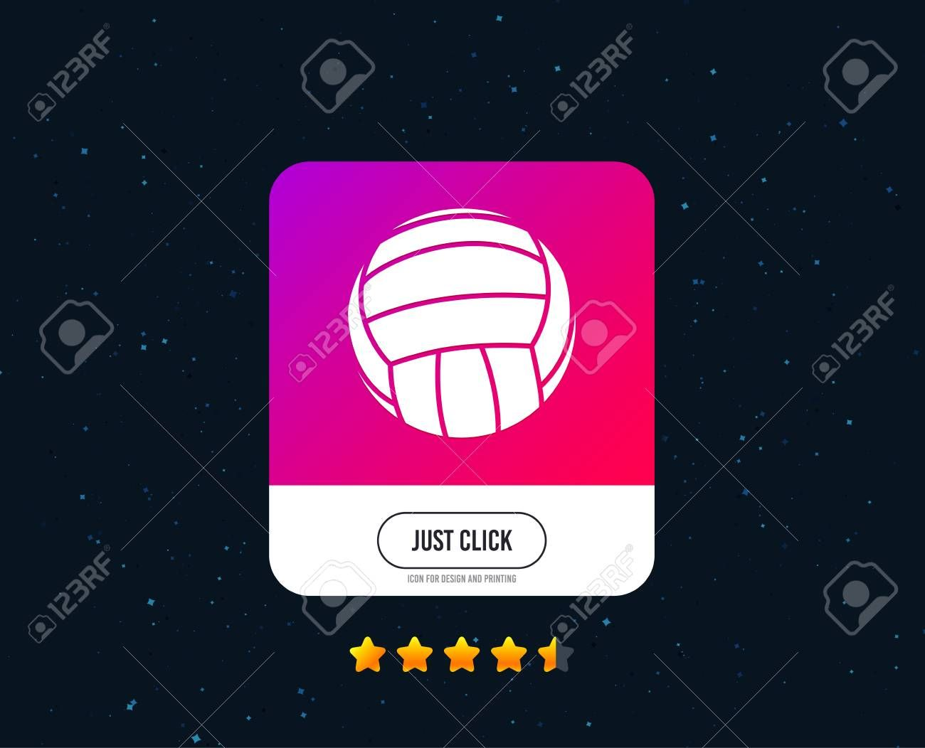 Volleyball Sign Icon Beach Sport Symbol Web Or Internet Icon Design Rating Stars Just Click Button Ve Volleyball Signs Icon Design