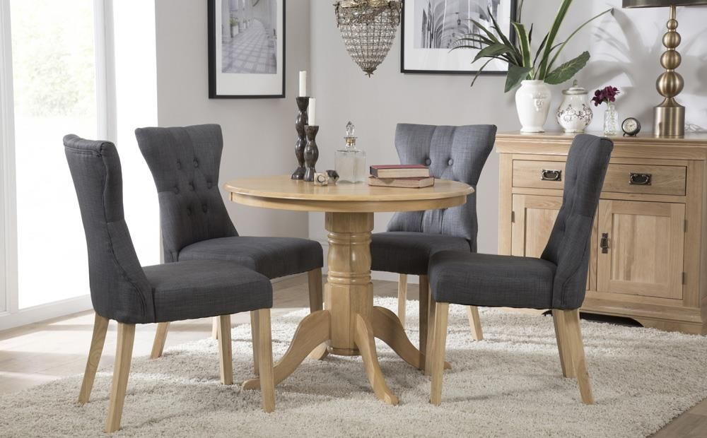 Phenomenal Kingston Round Oak Dining Table With 4 Bewley Slate Chairs Gamerscity Chair Design For Home Gamerscityorg