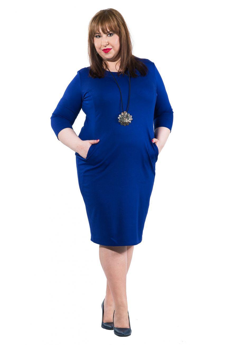 e98b95dccf Kobaltowa dzianinowa sukienka z kieszeniami - Modne Duże Rozmiary ...