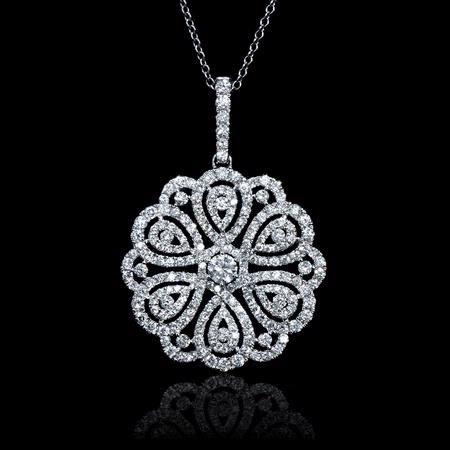 Diamond 18k White Gold Flower Pendant