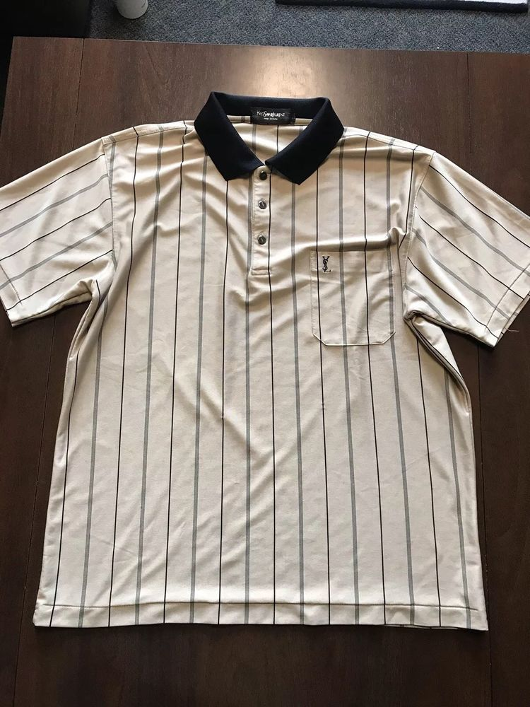 b1bad14e YSL Yves Saint Laurent Men's Vintage Striped Silk Polo Shirt L ...