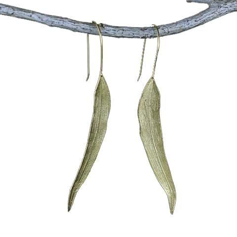 Silver Leaf Long Drop Earrings for Women Fine Jewelry