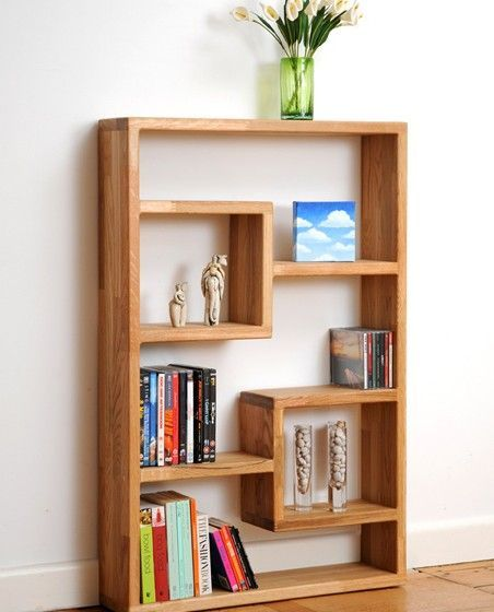 This is such a unique idea, and I think the way that these Solid Wooden Block Shelves fit snuggly into the corner is cool #creativeshelvingdesign