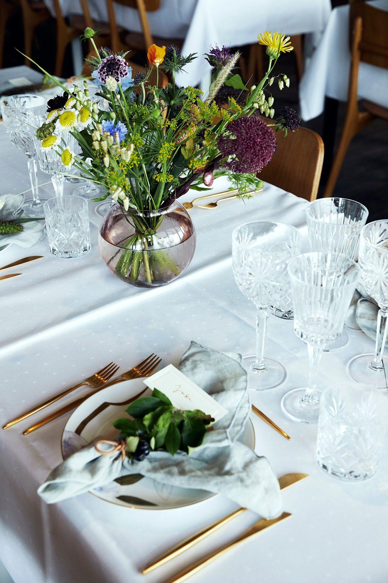 A Family Affair Blogger Pernille Teisbaek S Wedding On An Island Off The Coast Of Denmark Wedding Floral Centerpieces Wedding Table Centerpieces Simple Wedding Centerpieces